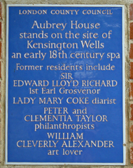 Aubrey House blue plaque